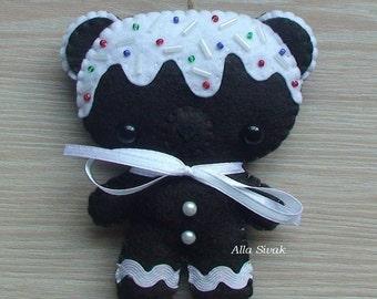 Christmas ornaments gingerbread, Christmas Bear, Dark Chocolate Candy Cane Cookie Bear Felt Ornament, Christmas Cookie, Christmas gifts,