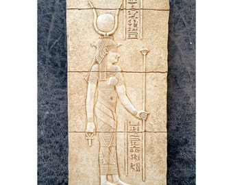 """History Egyptian Hathor  Sculptural wall relief  www.Neo-Mfg.com 11"""""""