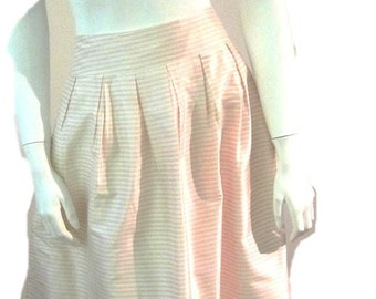 Silk Pink and White Pleated Striped Knee-Length Bubble Skirt (Size 6)