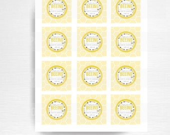 Favor Tags Mom to Bee Baby Shower Printable Party YOU PRINT instant download yellow grey