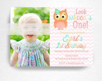 Owl Birthday Party Printable Invitation YOU Print Blush Mint Pink