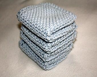 Knit Wash Cloth Set of 4, Knit Dish Cloth, Blue Knit Wash Cloth, Blue Knit Dish Cloth