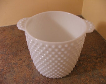 Vintage 1950s Large Fenton White Milk Glass Hobnail Ice Bucket