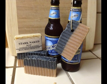 Blue moon Beer Soap, Soap on a Rope, Hemp Rope, fragrance free, Soap for men,  Cold Processed, Natural Soap, Vegan Organic, Soap for Men