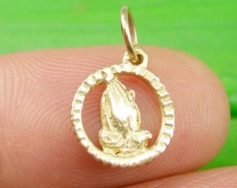 Genuine 375 9CT 9K Yellow Gold Small Clasped Hands In Prayer Charm - C2530