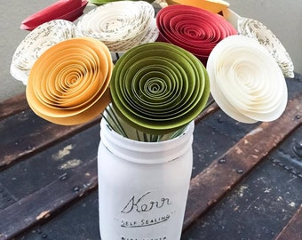 Fall Decor - Paper flowers - Autumn Flowers - Wedding Centerpieces - Home Decor - Baby Shower - Thanksgiving Decor - Paper Anniversary