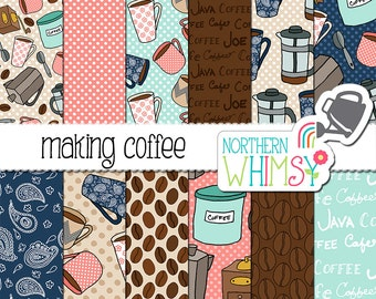 "Coffee Digital Paper - ""Making Coffee"" - cafe scrapbook papers in brown, tan, coral, navy & aqua - coffee seamless patterns - commercial use"