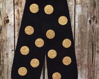 Baby Leg Warmers, Gold and Black Leggings, Black and Gold Polka Dot Leggings, Leg Warmers, Baby Leggings, leg warmers