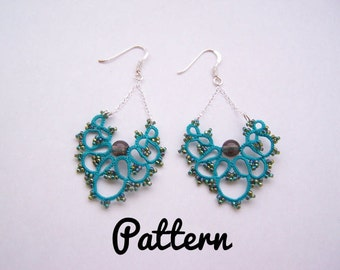 Tatting pattern long earrings in tatting lace - tutorial for earrings - shuttle tatting or needle tatting DIY - tatting tutorial frivolity