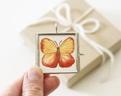 Butterfly Pendant Yellow and Orange Miniature Original Watercolor Painting