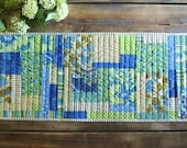 Reserved for Marcia: table runner in blue, chartreuse and turquoise