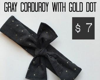 Gray Corduroy with Metallic Gold Dot