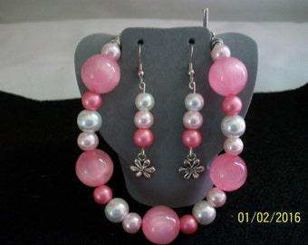 Pink & white pearl bracelet earring set