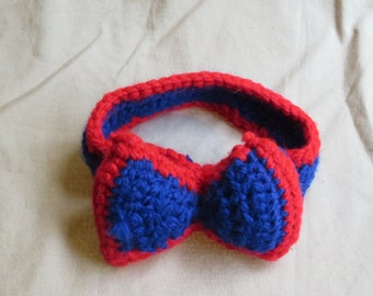 Red and Blue Patriotic Baby Headband with Attached Bow
