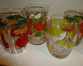 Vintage Set Of Assorted Juice Glasses / Lot of 6