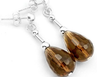 Earrings sterling silver .925 smoky quartz