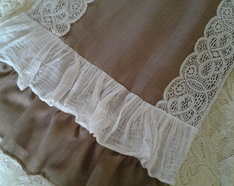 Wedding, Special Occasion, Burlap Table Runner, Linen and Lace, Ruffled Table Runner, Lot of 2