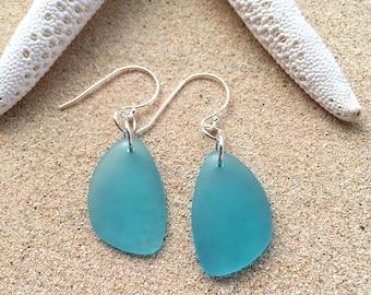 Turquoise Aqua Blue Beach Glass Earrings, Sterling Silver & Blue Sea Glass Earrings,  Sterling Silver Beach Glass Earrings, Beach Earrings