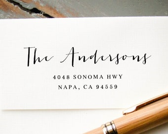 Self-Inking Calligraphy Address Stamp, Return Address, Custom Rubber Stamp, Engagement Gift, Housewarming Gift, Personalized Stamp