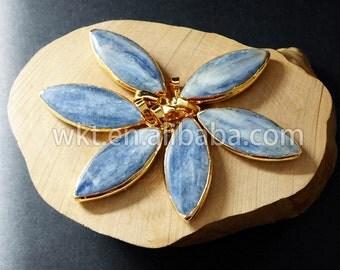 WT-P574 Wholesale Natural raw blue kyanite stone pendant gold dipped stone pendant