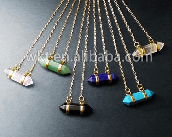 WT-N161 New!! Various of double points stone necklace in 24k gold plated, natural stone made necklace