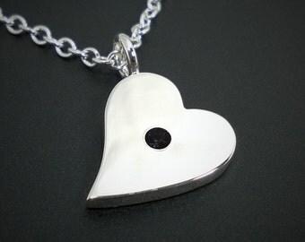 Black Spinel Sideways Heart Necklace Pendant in Sterling Silver - Sterling Heart Necklace, Sterling Heart Pendant, Black Spinel Pendant