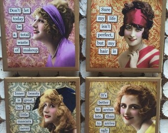 COASTERS! Hilarious sassy gals coasters with gold trim
