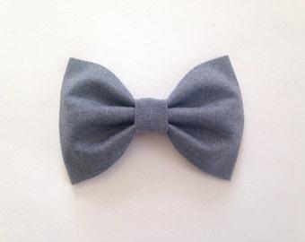 Blue Chambray Hair Bow - Baby Hair Bow - Bow - Girls Hair Clip - Hair Bow - Baby Hair Clip - Hair Clip - Bow Hair Clip