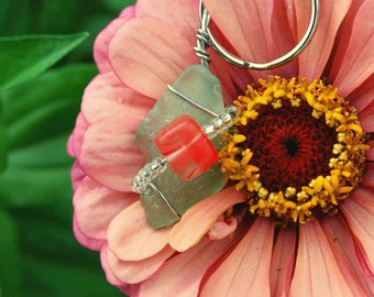 Pale Aqua Green Tumbled Glass Keychain w/Coral and Clear Beads by AJ Made With Love
