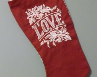 love Christmas stocking  embroidered design