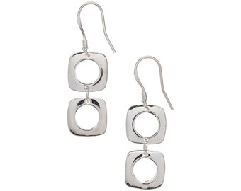 Sterling Silver Modern-in-Style Drop Earrings