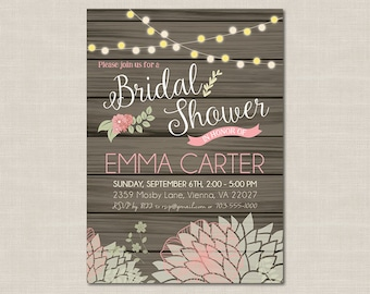 Rustic Chic Bridal Shower Invitation, Pink & Mint, Printable Digital File, DIY