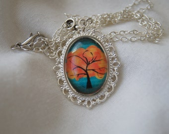 Tree Cameo Pendant Necklace (Version 5)