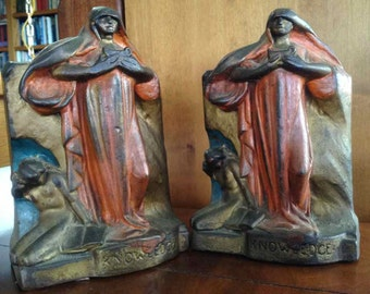 "Vintage Art Deco Frankart Style ""Femme Fatale"" Chalkware Bookends - Made in USA - 1910's to 1920's"