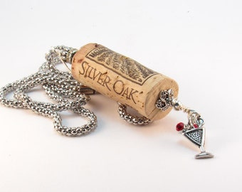 REDUCED! Wine Cork Necklace, Wine Charm Necklace, Wine Enthusiast Necklace, Upcycled Wine Cork Necklace, Wine Country Necklace, Party Favor
