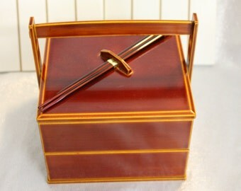 Japanese Bento box lunch box vintage Asian Brown tones with Matching attaching Chopsticks