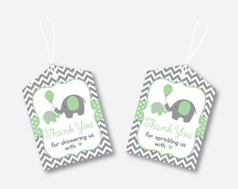 Instant Download, Elephant Favor Tags, Elephant Baby Shower Favor Tags, Elephant Thank You Tags, Gift Tags, Little Peanut, Green (SBS.40)