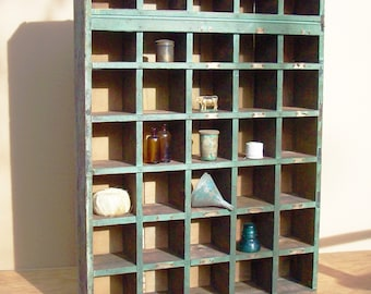 Cubby Hole Cupboard /  Industrial Organization / Green Hardware Store Cabinet / Authentic Industrial / Great Color
