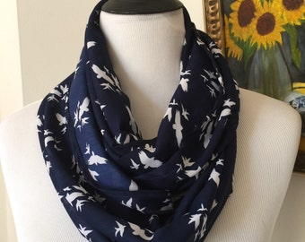 Infinity scarf navy blue, scarf in a loop/ Chiffon circle scarf