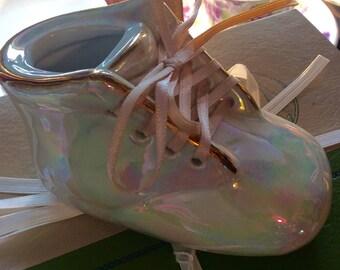 Lustreware Baby Porcelain Shoe Vintage