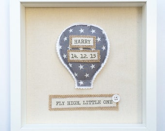 New Baby Gift, Nursery Decor, Baby Announcement Nursery Wall Art - Hot Air Balloon Nursery Frame