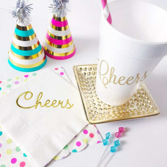 Cheers napkins, foil stamped napkins, gold napkins, colorful cocktail napkins, cheers beverage napkins