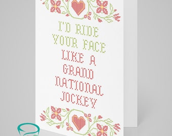 I'd ride your face like a grand national jockey - Love Valentines Greeting Card Adult Naughty