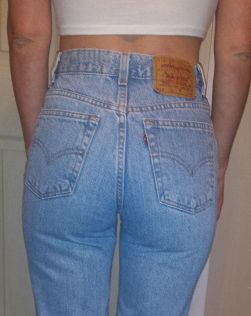 high waist vintage levis denim jeans light blue by. Black Bedroom Furniture Sets. Home Design Ideas