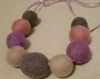 Pink Lilac and Grey Felt wool ball necklace