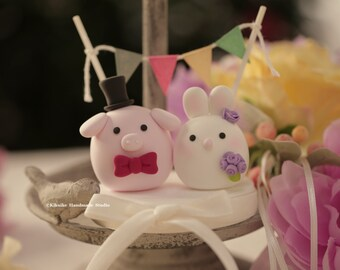Pig ,Piglet and Rabbit, Bunny wedding cake topper