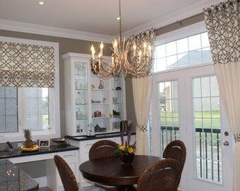 "Custom Linen Panel ""Casanueva-Parchment"", Grommet Panel, Beige Tones, Geometric coloured drapes, Drapery Panels, Made-to-Order"