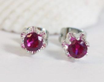Ruby, Ruby Earrings, Flower Earrings, Sterling Silver, Stud Earrings, Silver Earrings, July Birthstone, Created Ruby, Red Earrings