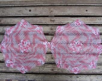 2 Vintage Pink Crochet Doilies