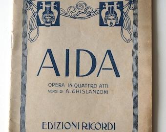 Verdi AIDA Opera Libretto in italian 1936, old libretto by Ghislanzoni for Giovanni Verdi opera Aida, lyrical music book for collectors